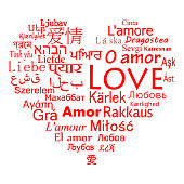 The word love for the most popular languages in the world