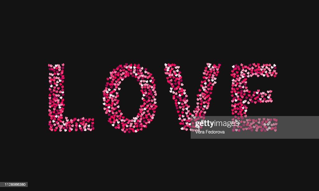 The word love made of little hearts shades of red and pink on black background. Valentine's day typography poster. Easy to edit template for your design projects.
