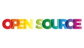 The word Open Source. Vector banner with the text colored rainbow.