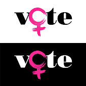 The word vote is combined with female symbol to encourage women to vote in the US November 6 midterm election.