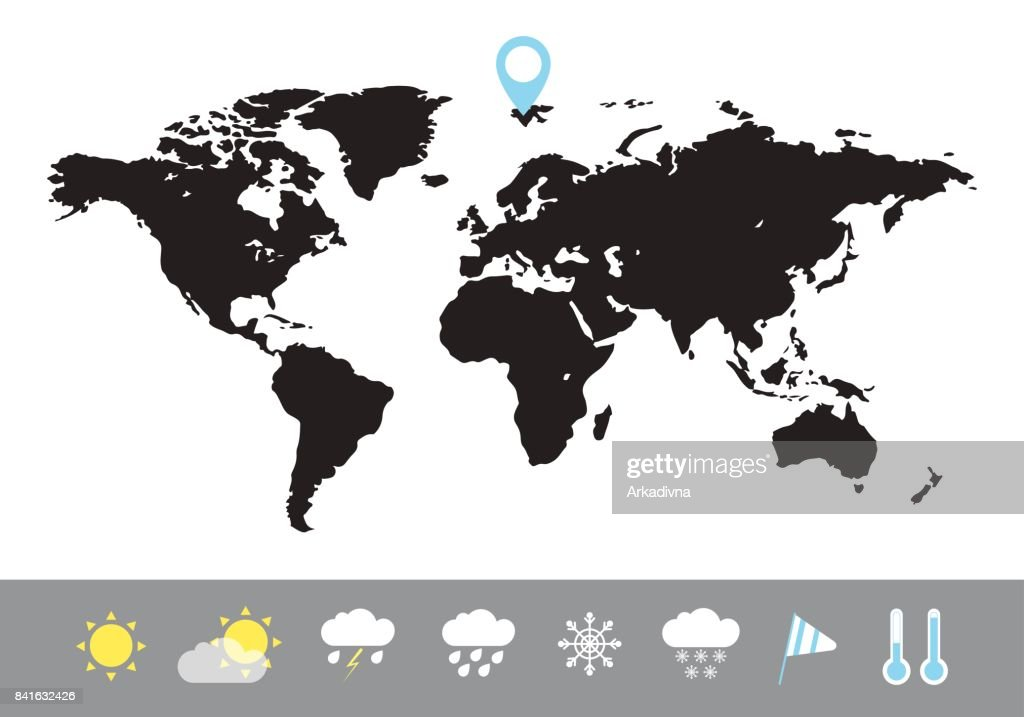 The world map is black. Weather icons. Vector illustration in a flat style.