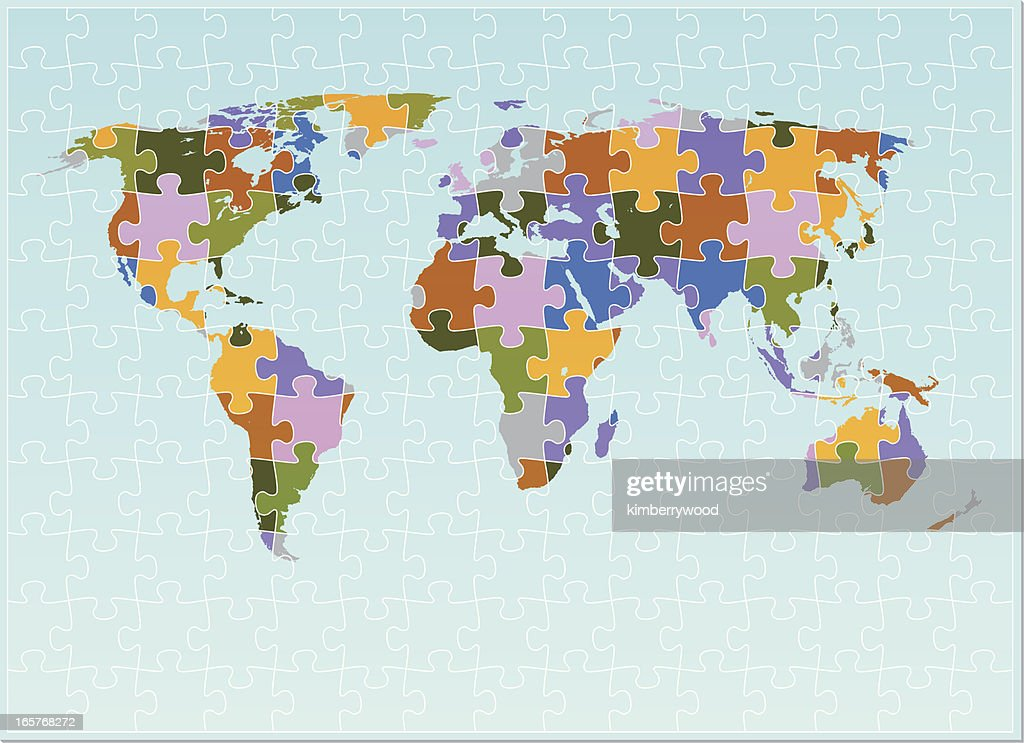The world map puzzle vector art getty images the world map puzzle vector art gumiabroncs Choice Image