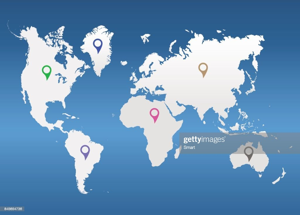 The world map with pointers on a blue background