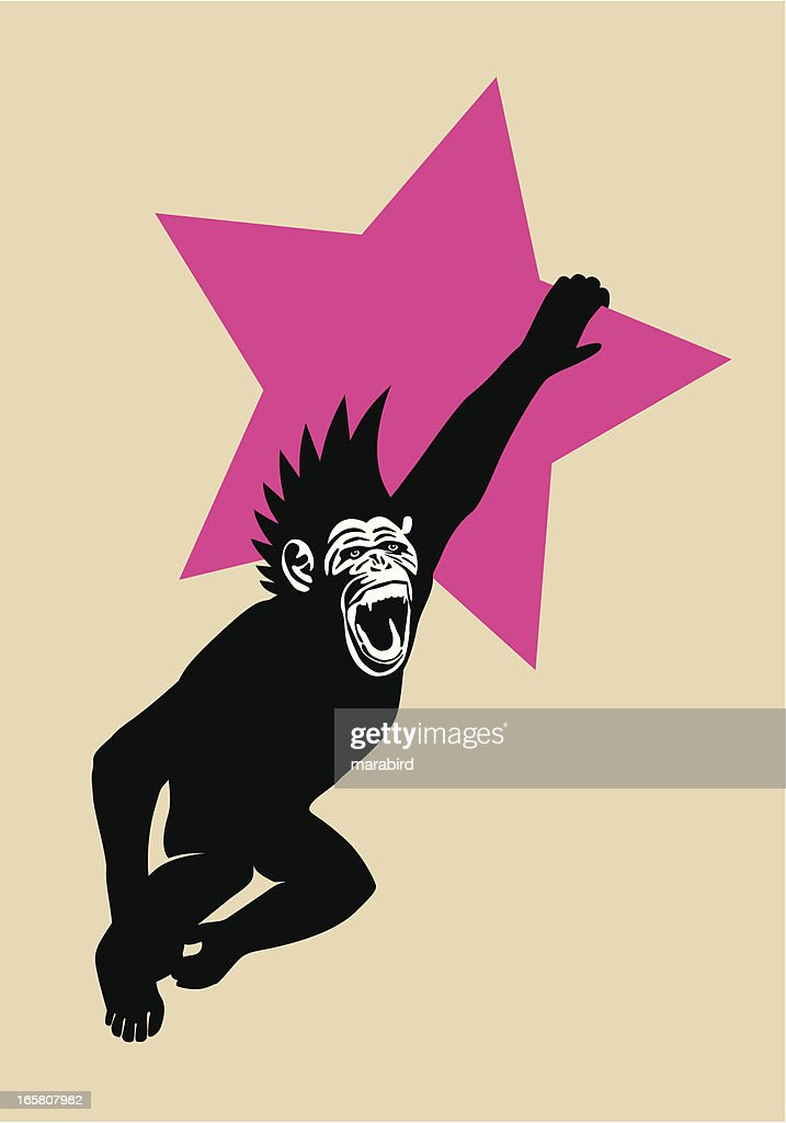 The Year of The Monkey Chimp Hanging from Red Star : stock illustration