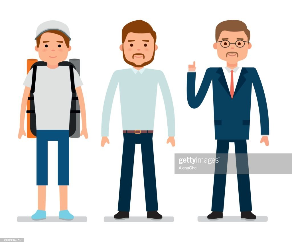 The young traveler, a clerk and businessman. White background.