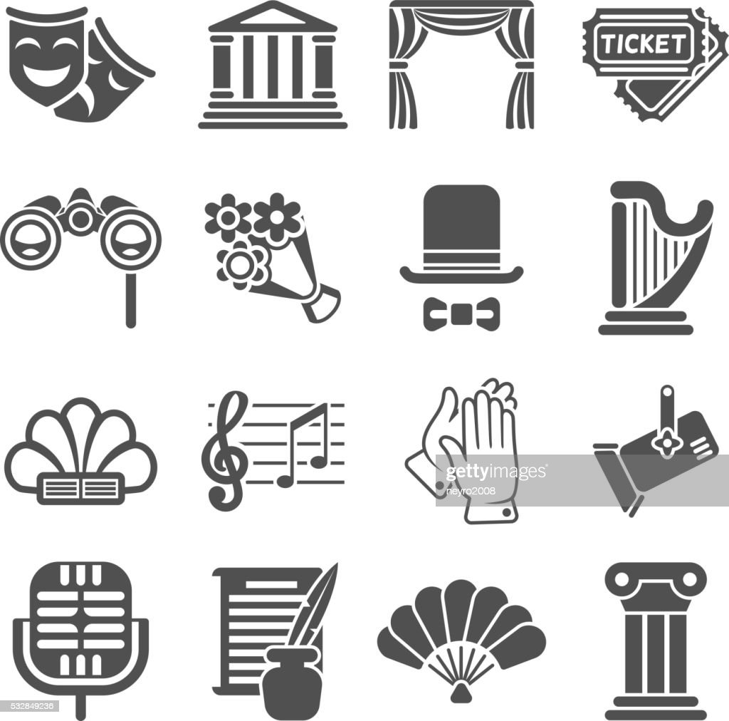 Theater acting vector black icons