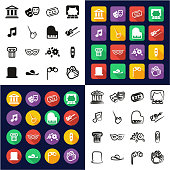 Theater All in One Icons Black & White Color Flat Design Freehand Set