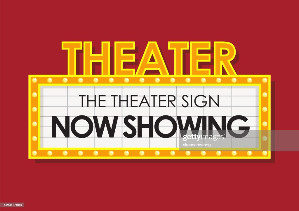 Theater glowing retro cinema sign