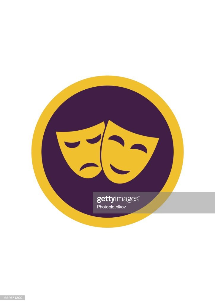 Theater happy and sad masks isolated on white background