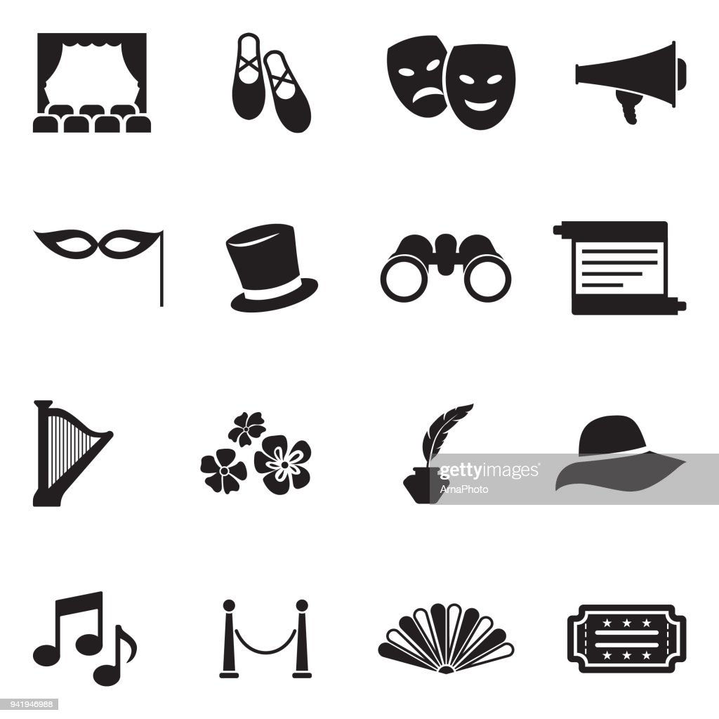 Theater Icons. Black Flat Design. Vector Illustration.