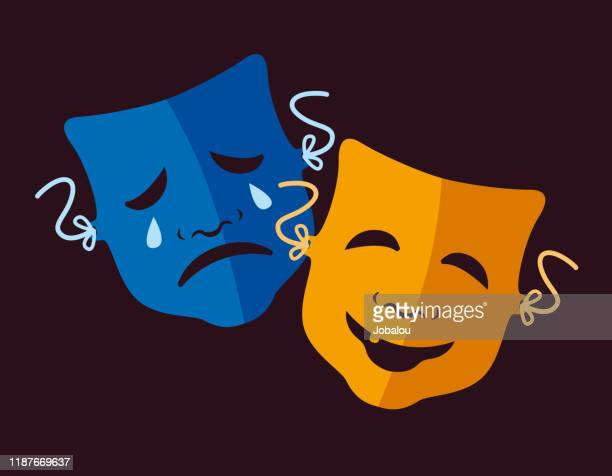 theater icons comedy and tragedy masks - sadness stock illustrations