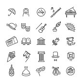 Theater linear icons. Theatre collection of isolated symbols - Vector