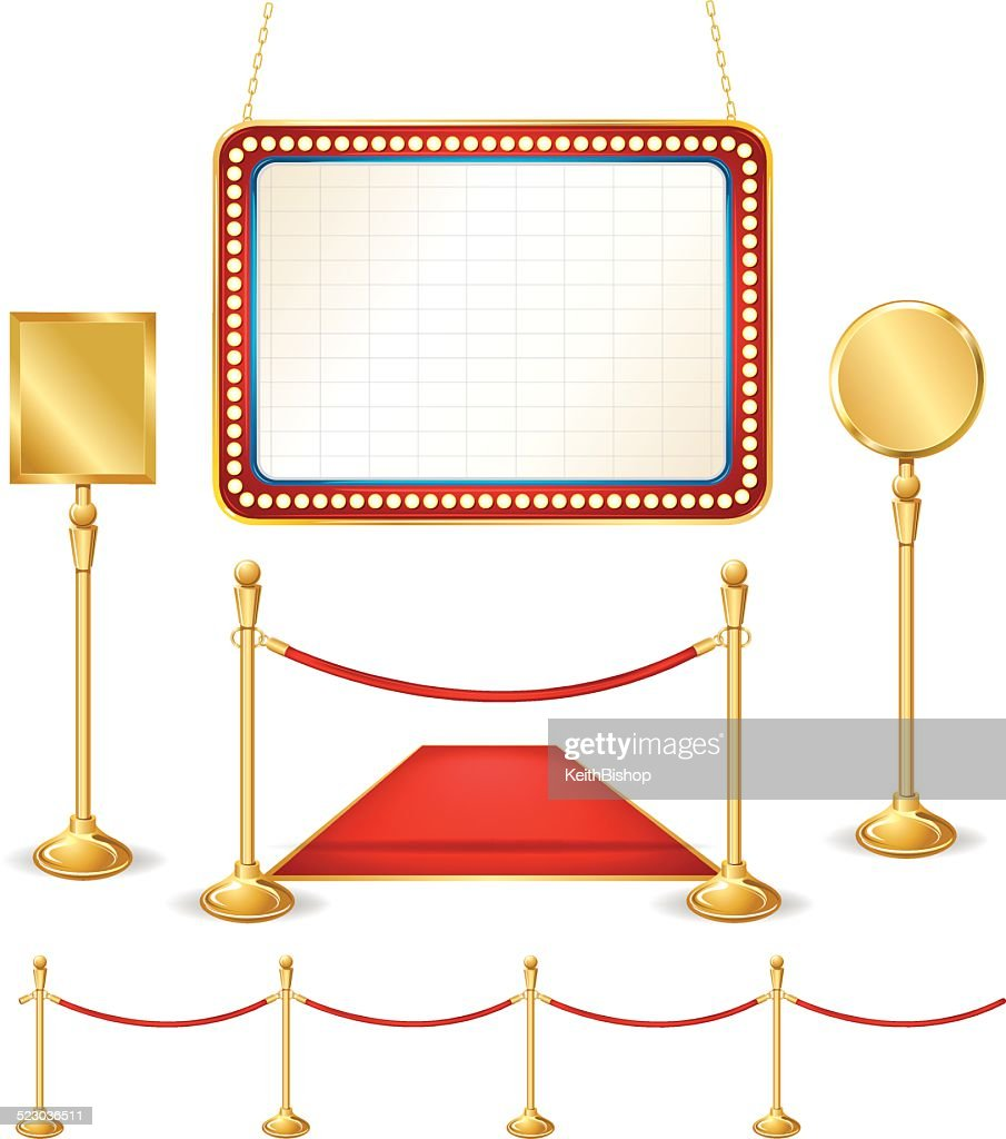 Theater Marquee, Brass Signs, Stanchion : stock illustration