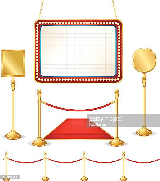 Theater Marquee, Brass Signs, Stanchion