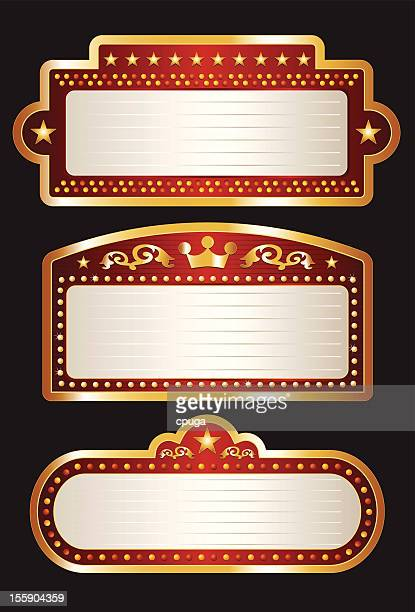 theater marquee collection - illuminated stock illustrations