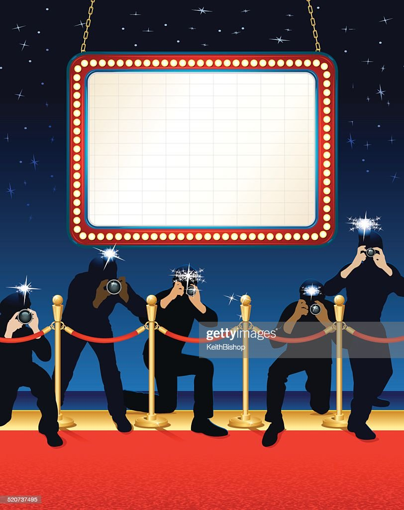 Theater Marquee Paparazzi Background Vector Art Getty Images
