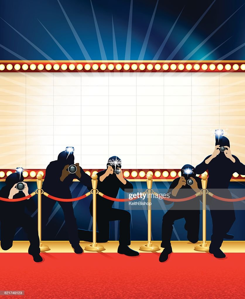Theater Marquee Paparazzi Background : stock illustration