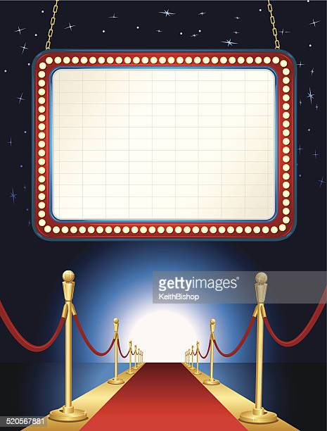 La alfombra roja de fondo de marquesina de teatro