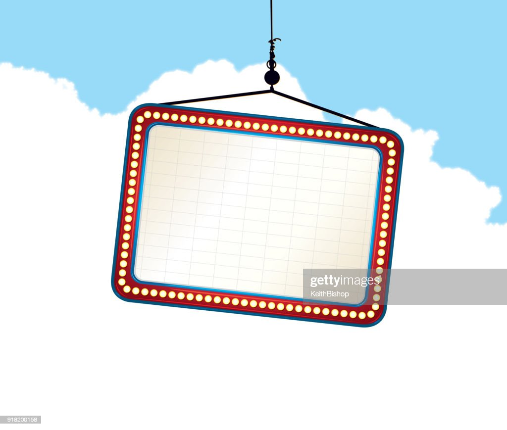 Theater Marquee Sign in the Sky Background : stock illustration