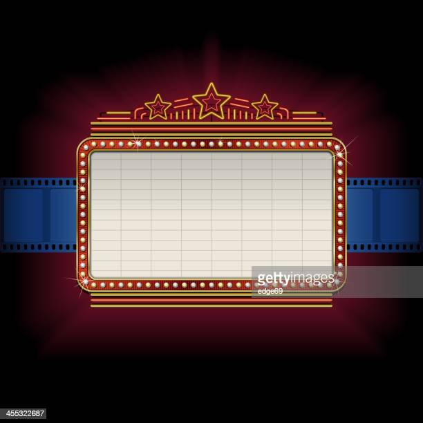 theater marquee with film strip border - sign stock illustrations, clip art, cartoons, & icons