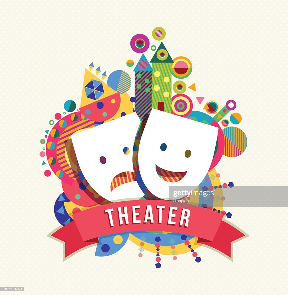 Theater mask icon, concept label with color shapes
