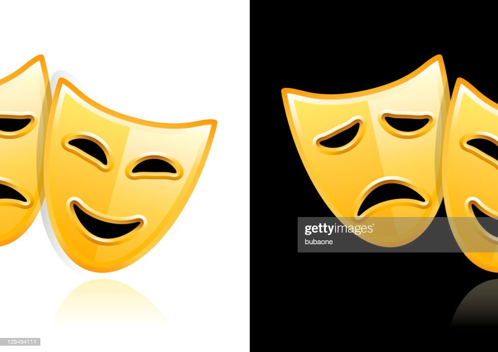 Theater Masks design on black and white Backgrounds