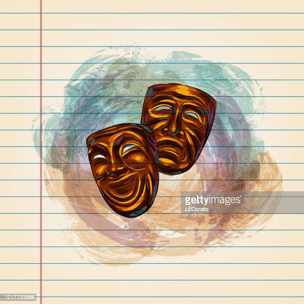 theater masks drawing on ruled paper - theatrical performance stock illustrations