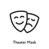 Theater Masks Emotion Sad Happy Drama Minimal Flat Line Outline Stroke Icon