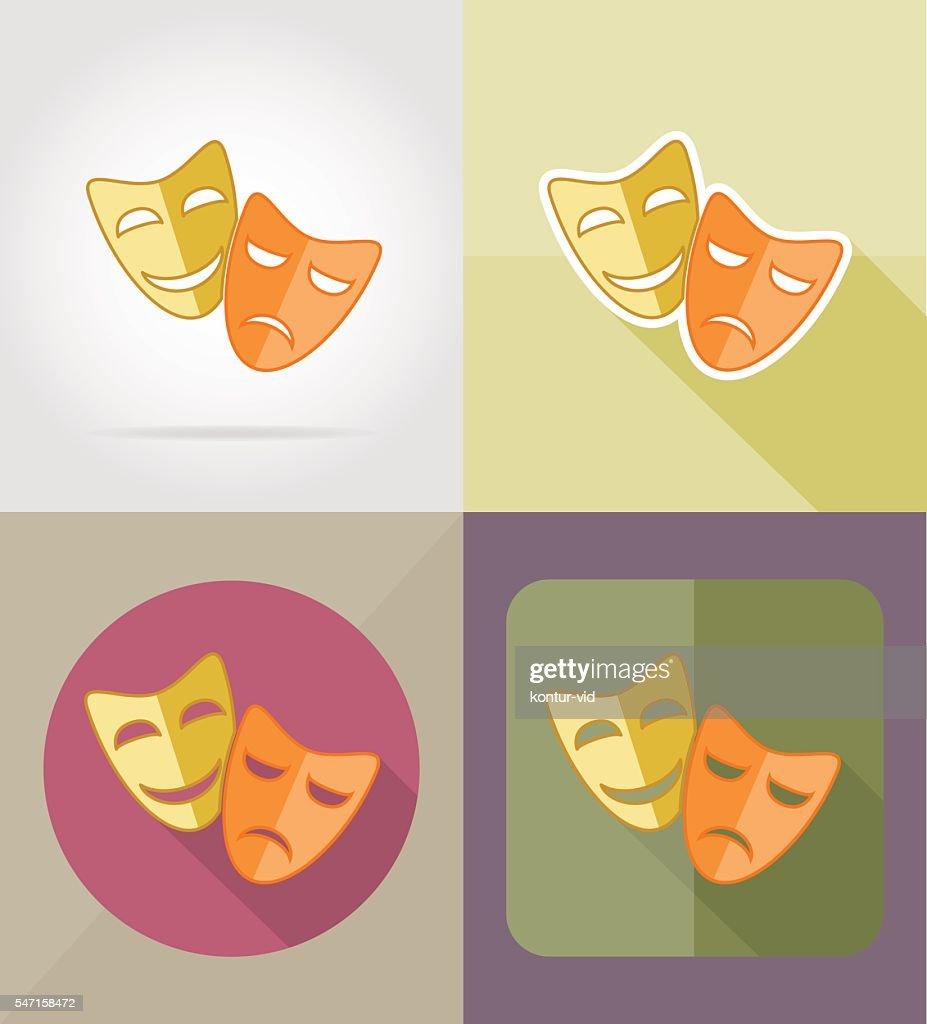 theater masks flat icons vector illustration