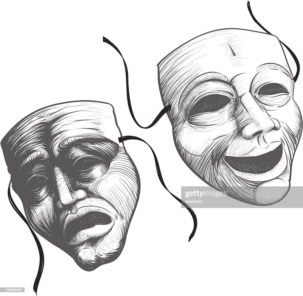 Theater masks in black and white illustration