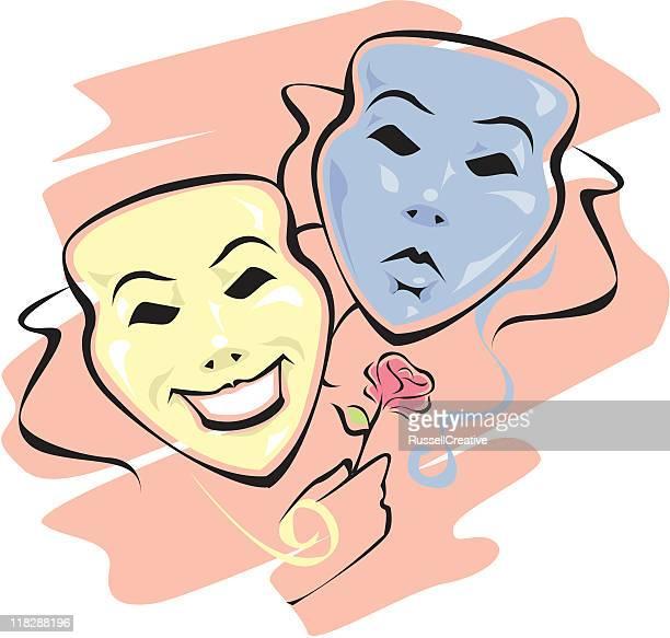 ilustraciones de stock y dibujos de m225scara de teatro