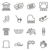 Theater or Opera Icons Thin Line Vector Illustration Set