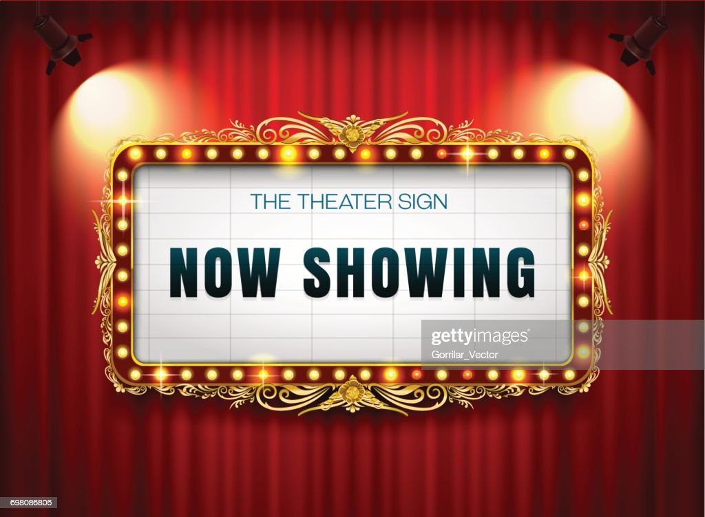 theater sign gold frame on curtain with spotlight