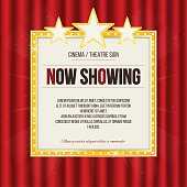 Theater sign or cinema sign with stars on red curtain. Gold retro signboard