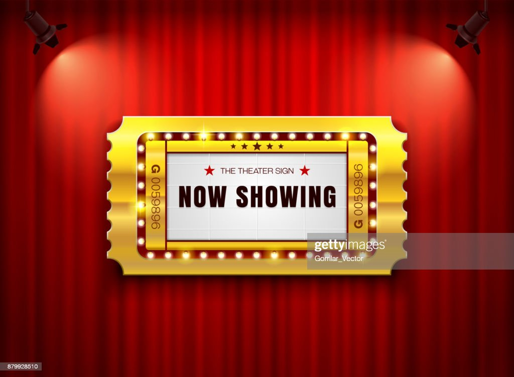 theater sign ticket on curtain with spotlight background
