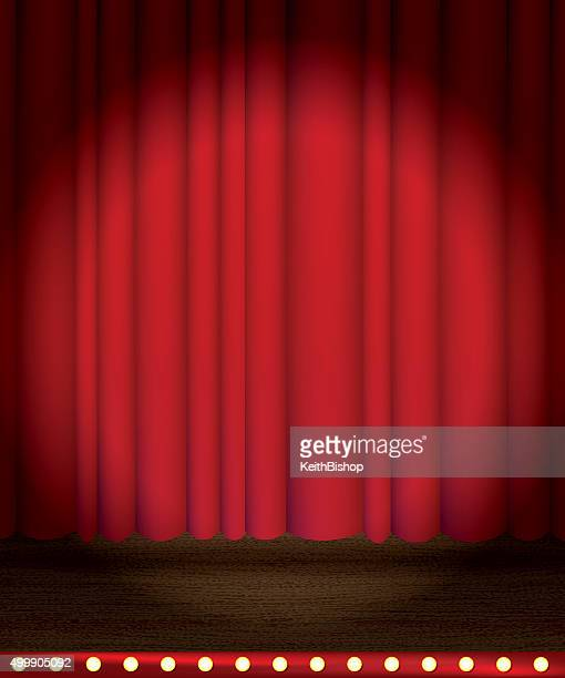 Theater Stage Curtain with Spotlight Background