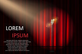 Theater stage with concert microphone and spotlight. Poster for concert, party, theater, circus or cinema background. vector illustration