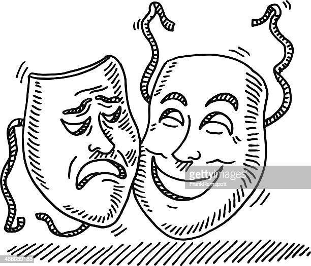 theater symbol face mask drawing - clip art stock illustrations