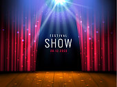 Theater wooden stage with red curtain and spotlight Vector festive template with lights and scene. Poster design for concert, theater, party, dance, event, show. Illumination and scenery decoration