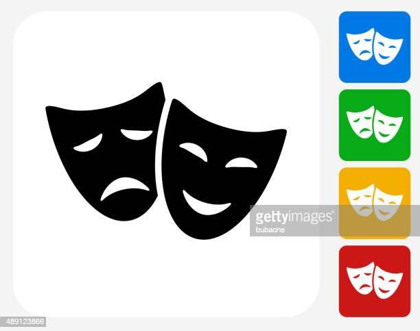 Theater Komödie und Tragödie-Symbol flache Grafik Design