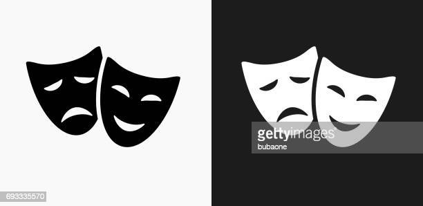 theatre comedy and tragedy icon on black and white vector backgrounds - theater industry stock illustrations, clip art, cartoons, & icons
