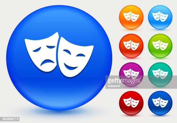Theatre Comedy and Tragedy Icon on Shiny Color Circle Buttons