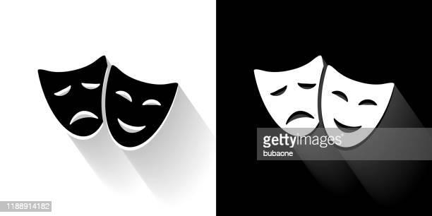 劇場コメディ&悲劇黒と白のアイコンロングシャドウ - 悲劇の面点のイラスト素材/クリップアート素材/マンガ素材/アイコン素材