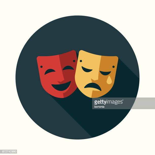 theatre flat design education icon with side shadow - theater industry stock illustrations, clip art, cartoons, & icons