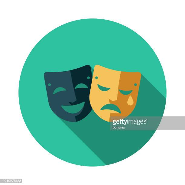 theatre flat design france icon - theater industry stock illustrations, clip art, cartoons, & icons