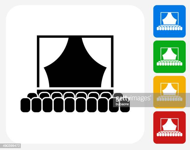 theatre icon flat graphic design - corridor stock illustrations, clip art, cartoons, & icons