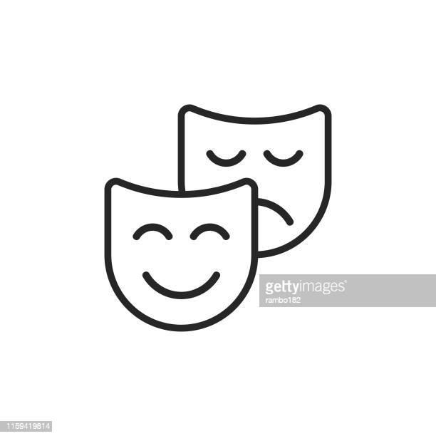 illustrations, cliparts, dessins animés et icônes de icône de ligne de théâtre. accident vasculaire cérébral modifiable. pixel parfait. pour mobile et web. - représentation théâtrale