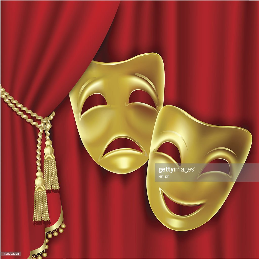 Theatre masks illustration on red curtains