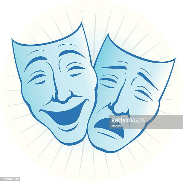 theatre masks - actress stock illustrations