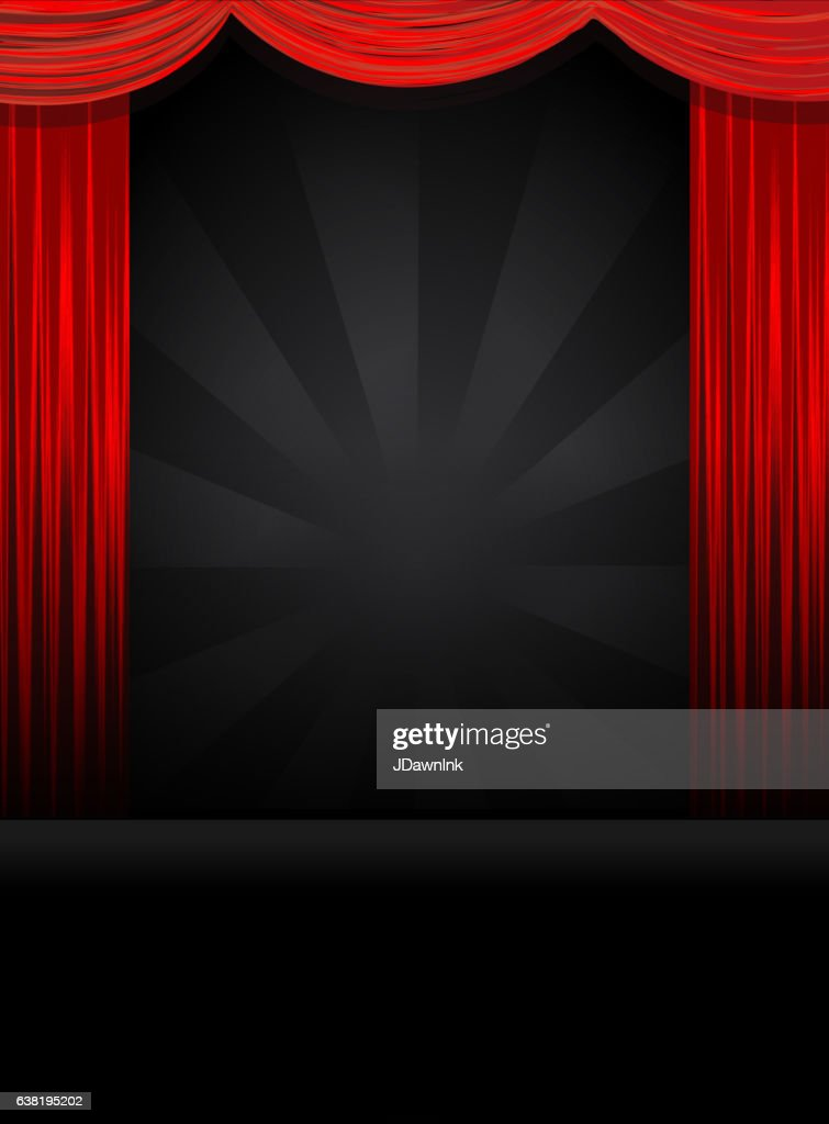 Theatre Stage in black with red curtains : stock illustration